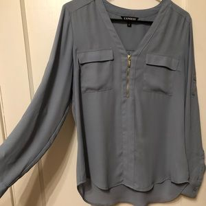 Solid Zip Front Chelsea Pull Over Blouse